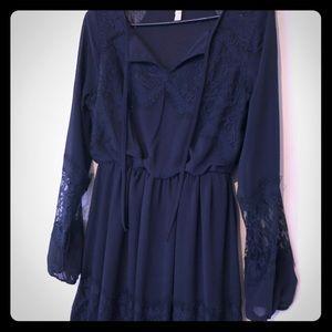 Dresses & Skirts - Cute dark blue & lace dress